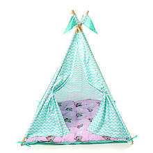 Детский вигвам шалаш игровая палатка для дома домик для детей Kospa Медведи Mentol