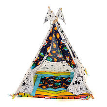 Детский вигвам шалаш игровая палатка для дома домик для детей Kospa Звёзды тёмный