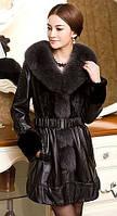 Женская удлиненная кожаная куртка с мехом норки, фото 1