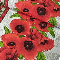 Ткань для полотенец вафельная с маками крупными красными, ш. 50 см
