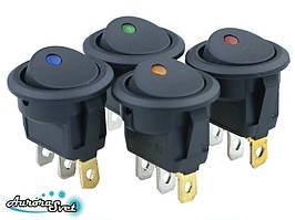 Кнопка - вимикач/тумблер двопозиційний,20А 12В, 10A KCD1 3 контактів, з індикатором