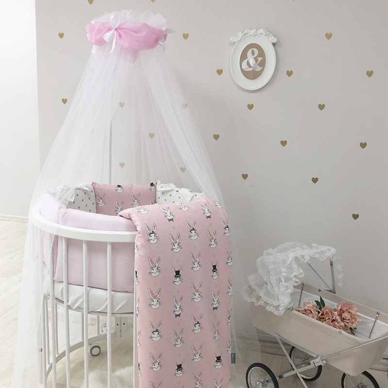 Комплект детского белья в овальную кроватку Shine Алиса розовый (без балдахина)