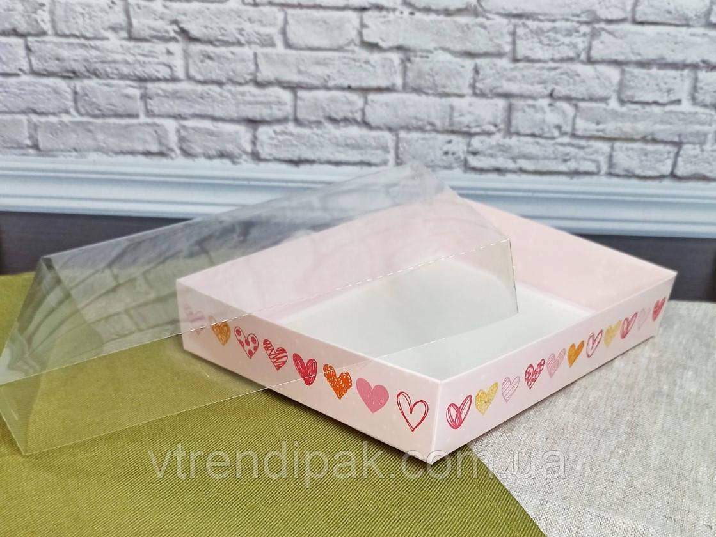 Коробка для пряника 200*150*35 Сердечки з прозорою кришкою ПВХ