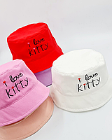 Детская Панама, I love Kitty, 52-54 размер ( 2 ед. в уп) Персик