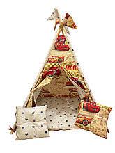 Вигвам шалаш для детей палатка детская игровая для дома Kospa Машинки