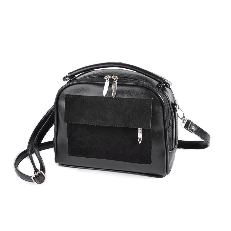 Черная маленькая женская сумка М199-33 замшевая кросс-боди портфельчик через плечо