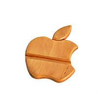 Деревянная подставка для iPhone в виде яблока (песочный)
