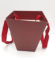 Складная флористическая коробка цвета марсала
