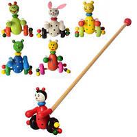 Деревянная игрушка Каталка MD 0024 (100шт) на палке48,5см,животные12см,6видов,в кульке,52-12-11см