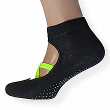 Шкарпетки для йоги анти ковзні з силіконовою підошвою чорні