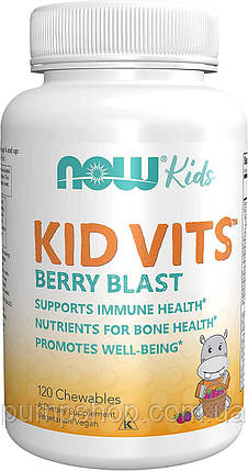 Вітамін для дітей Now Foods Kid Vits 120 жеват. таб. ягідний смак, фото 2