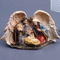 Різдвяний вертеп 11 см Статуетка Святе сімейство в крилах ангела Новорічний декор для дому