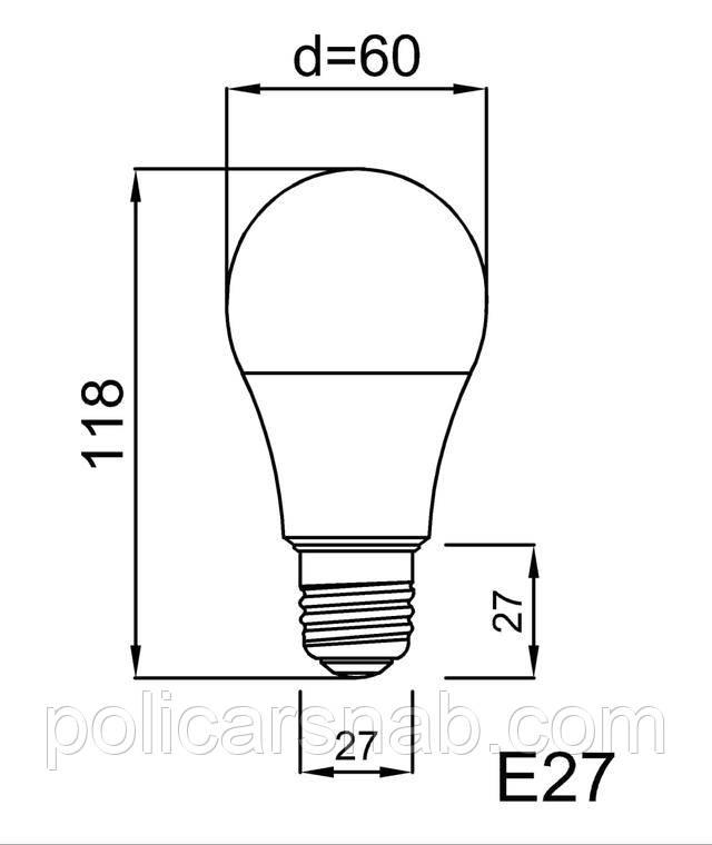 Лампа світлодіодна енергозберігаюча A60 E27 LEBRON LED, розміри