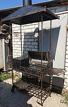 Мангал кований стаціонарний 3 мм. на 12 шт. шампурів з дахом та відкидною кришкою, пічкою, гратами для гриля