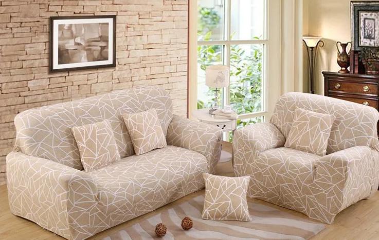 Натяжные чехлы на диваны и кресла накидки, безразмерные чехлы на мягкую мебель Homytex Геометрия бежевый