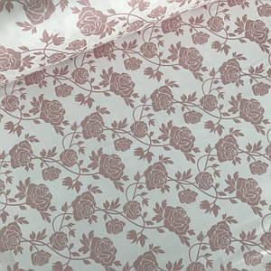 Сатин (ТУРЦИЯ шир. 2,4 м) розы пудровые на белом ОТРЕЗ (0,8*2,4)