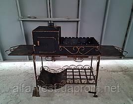 Мангал кований стаціонарний 4 мм на 12 шт. шампурів з пічкою