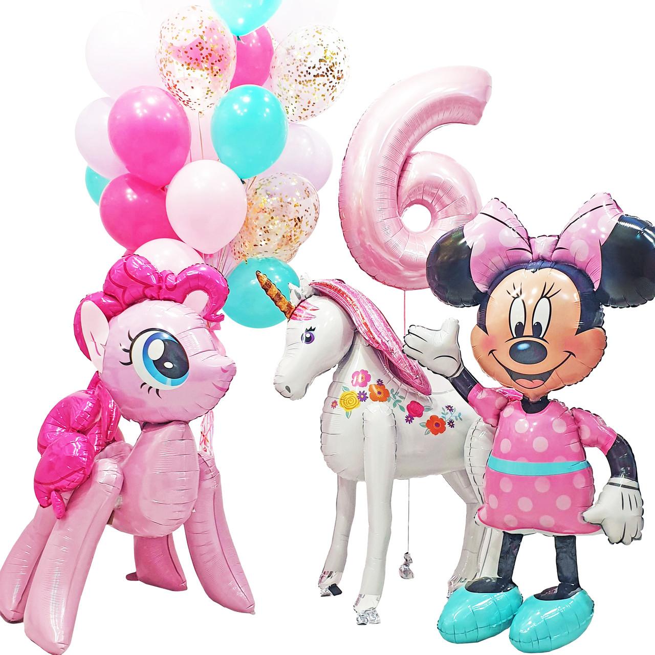 Оформление для девочки с Пинки пай, Минни Маус, Единорогом, цифрой и связкой из 25 шаров