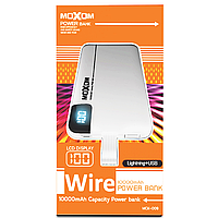 АКБ PowerBank MOXOM with Lightning cable MCK-009 (10000 mAh) белый