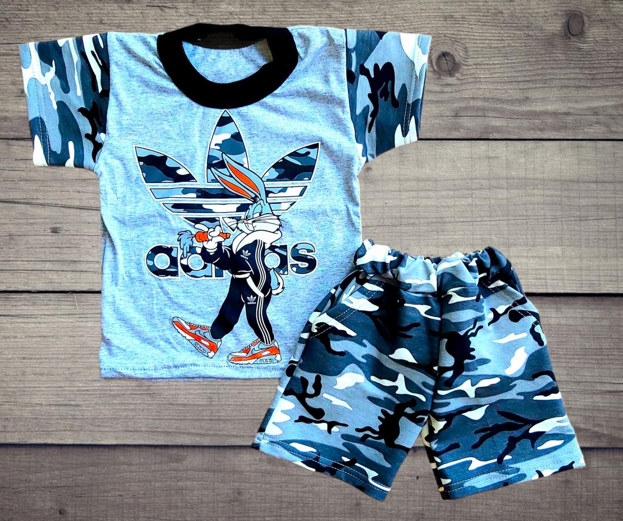 Детский камуфляжный летний костюм футболка и шорты для мальчика ADIDAS & Bugs Bunny