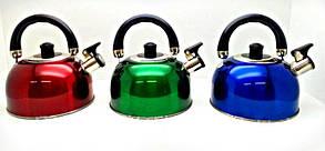 Чайник зі свистком подвійне дно, 2,5 л. А-Плюс, фото 2