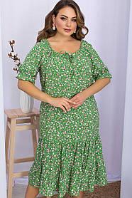 Привлекательное летнее миди платье из вискозы зеленого цвета в розовый цветочек   больших размеров XL 2XL 3XL