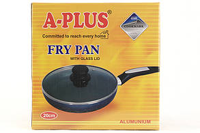 Сковорідка A-plus 20 см з кришкою, тефлонове покриття, фото 2