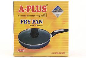 Сковородка A-plus 28 см с крышкой, тефлоновое покрытие
