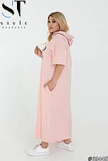 Женское платье макси свободного кроя с капюшоном хлопковое размеры: 48-62, фото 2