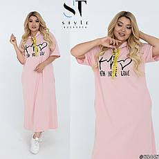 Женское платье макси свободного кроя с капюшоном хлопковое размеры: 48-62, фото 3