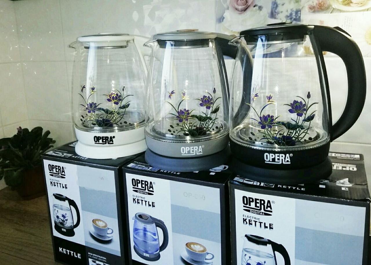 Електричний скляний чайник 2л OPERA з квіткою