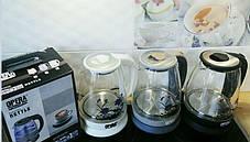 Електричний скляний чайник 2л OPERA з квіткою, фото 2