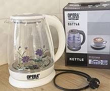 Електричний скляний чайник 2л OPERA з квіткою, фото 3