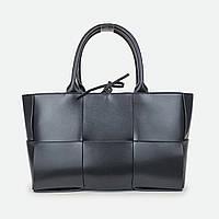 Женская черная большая сумка кожаная 9266