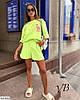Женский модный летний прогулочный костюм двойка с принтом (футболка оверсайз и шорты), фото 3