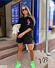 Жіночий модний літній прогулянковий костюм двійка з принтом (футболка оверсайз і шорти), фото 2