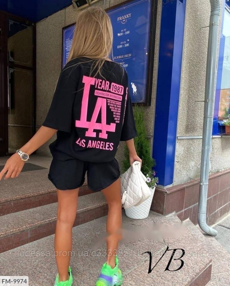 Жіночий модний літній прогулянковий костюм двійка з принтом (футболка оверсайз і шорти)