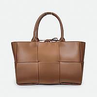 Большая каркасная сумка светло-коричневая кожаная 9266