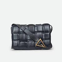 Черная сумка квадратами кожаная средняя 9095, фото 1