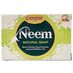 Антибактериальное мыло Ним Gurukut (ним, алоэ вера, куркума, миндальное и оливковое масла), 75 грамм