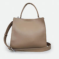 Модная вместительная сумка женская бежевая кожаная BD608