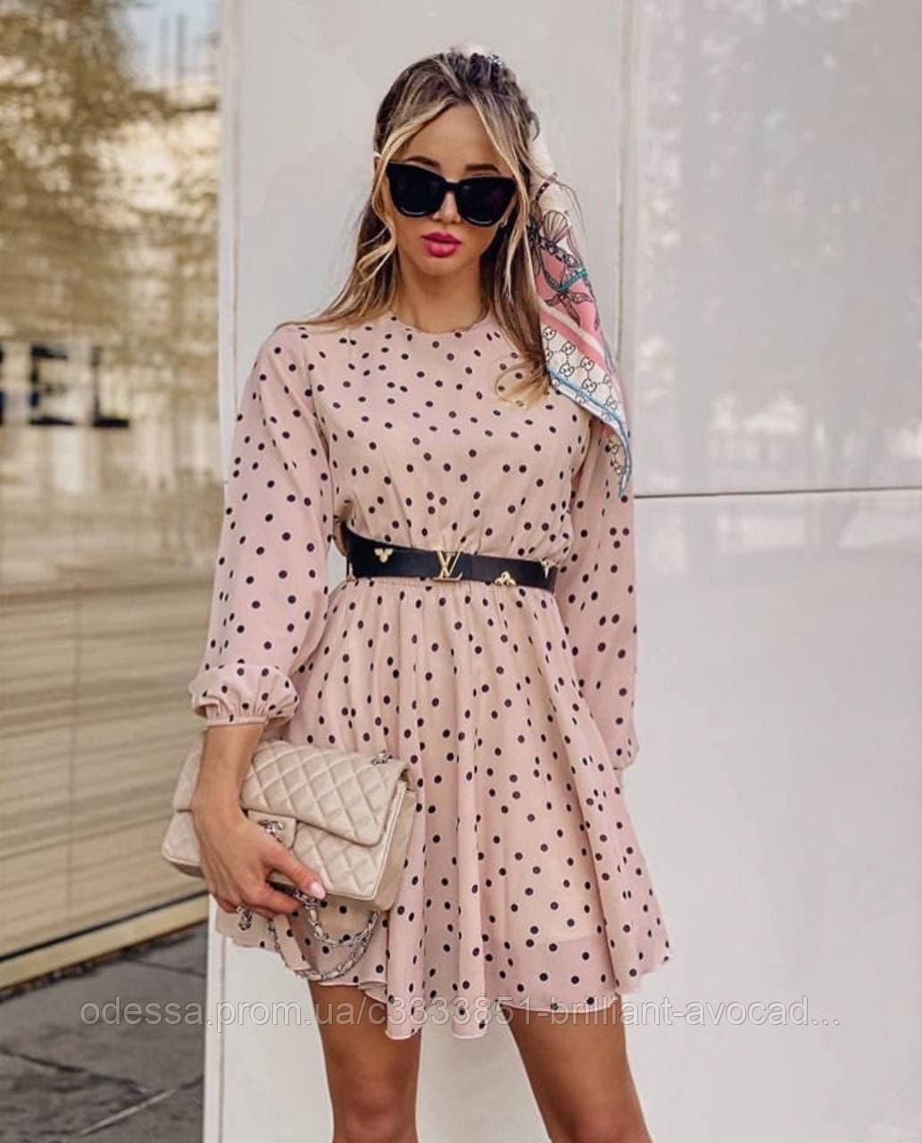 Жіноче літнє гарне плаття в горох з довгим рукавом