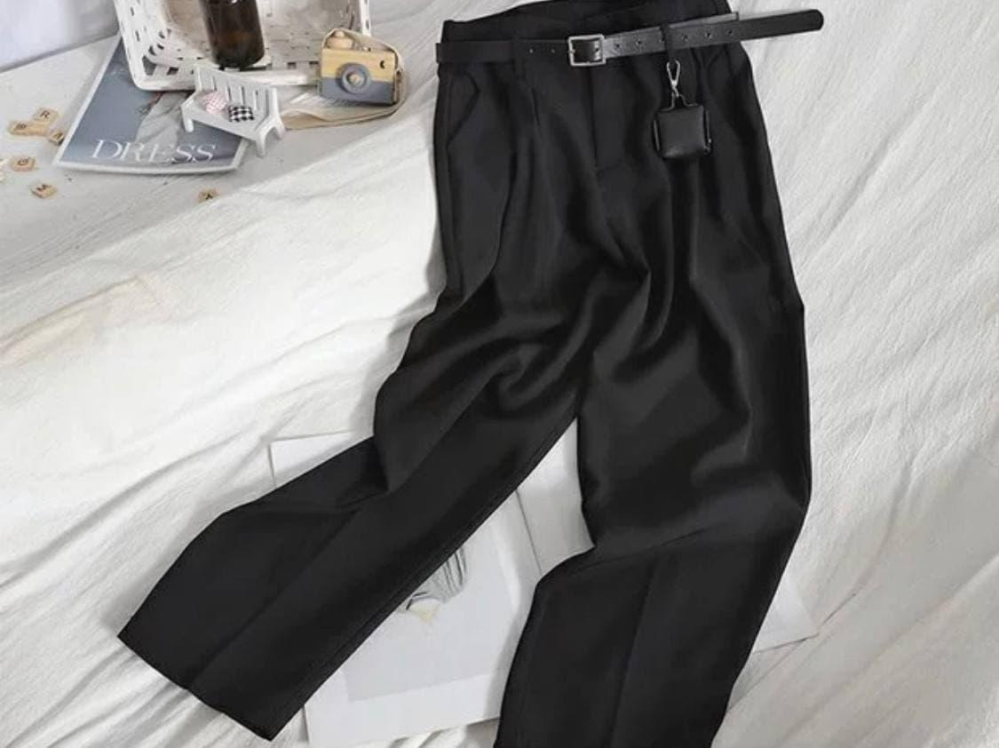 Женские брюки с ремнем Черные