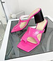 Женские кожаные лаковые шлёпанцы на каблуке 36-40 р фуксия, фото 1
