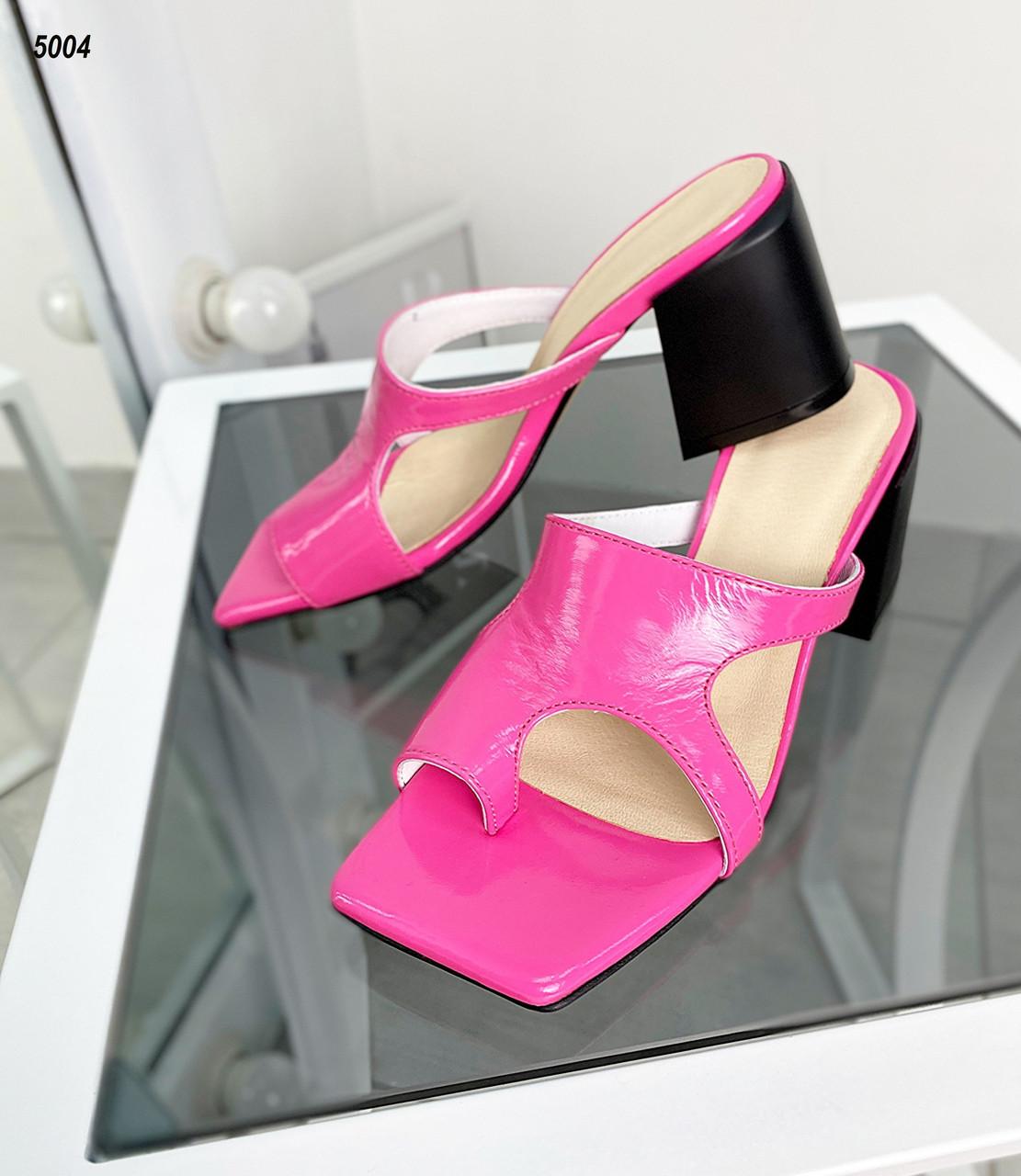 Женские кожаные лаковые шлёпанцы на каблуке 36-40 р фуксия