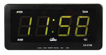 Годинники настільні електронні Caixing CX 2159 від мережі 220В і від мережі 12В