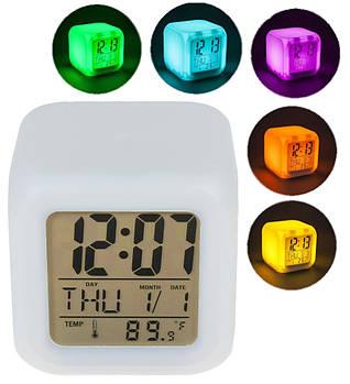 Годинник хамелеон з термометром будильник нічник UKC 508 (1246)