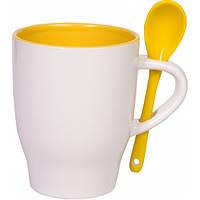 """Чашка с ложкой """"Модена"""" желтая внутри"""