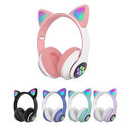 Навушники накладні бездротові з котячими вушками CAT STN-28 гарнітура з мікрофоном (Рожевий)