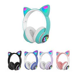 Навушники з котячими вушками безпровідні CAT STN-28 Bluetooth гарнітура з мікрофоном (Бірюзовий)
